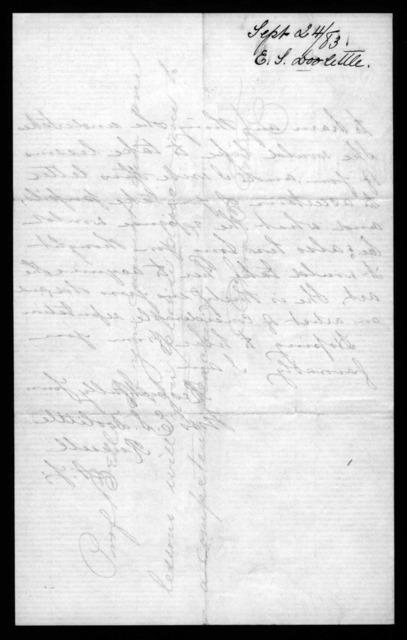 Letter from Mrs. E.S. Doolittle to Alexander Graham Bell, September 24, 1883