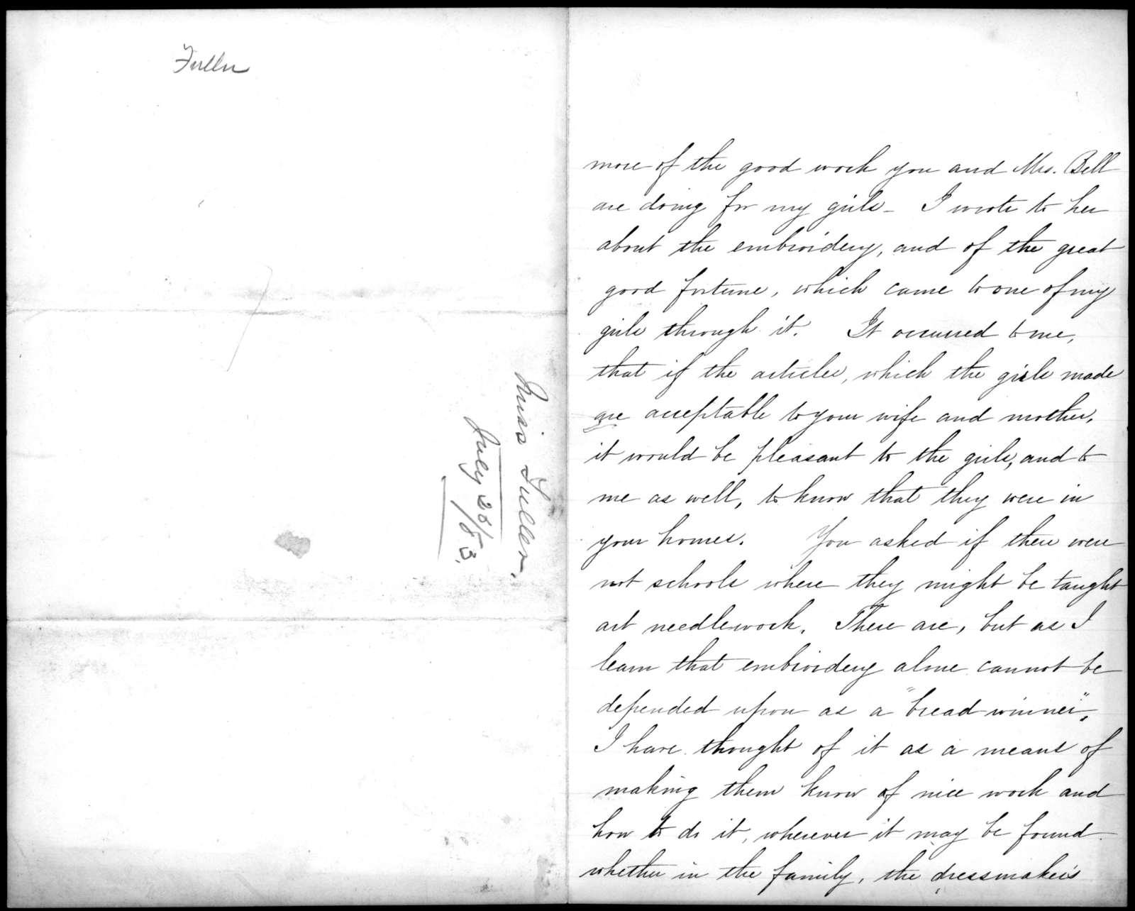 Letter from Sarah Fuller to Alexander Graham Bell, July 26, 1883