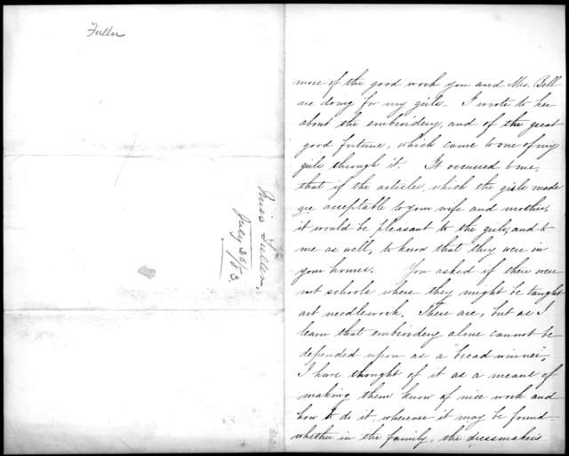 Letter from Sarah Fuller to Alexander Graham Bell, July 26, 1883