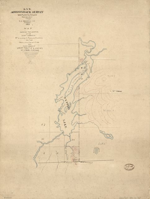 Map showing the location of the joint corner of St. Lawrence & Franklin Counties on the Hamilton County line and joint corner of Great Tract no. 2 and no. 3, Ma. Combs Purchase /