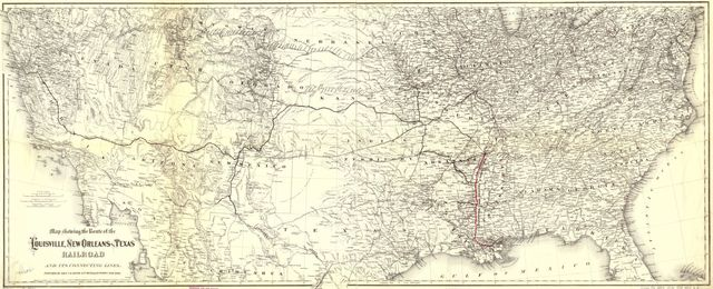 Map showing the route of the Louisville, New Orleans, and Texas Railroad and its connecting lines.