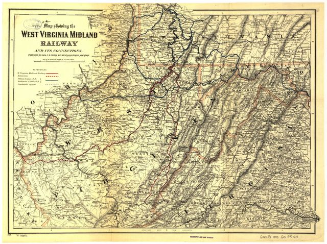 Map showing the West Virginia Midland Railway and its connections.
