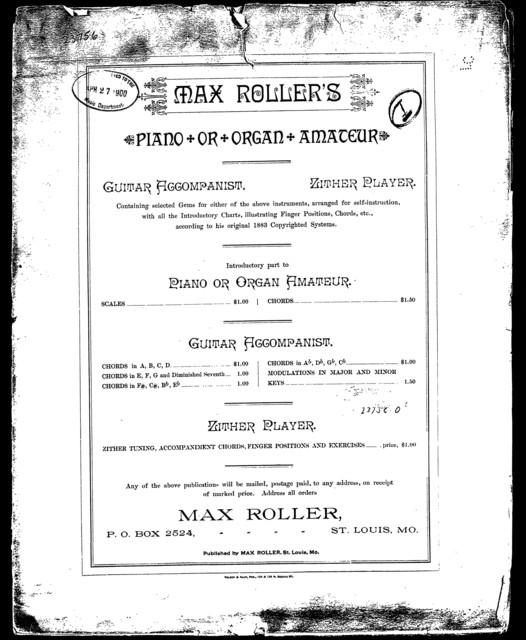 Max Roller's piano or organ amateur I