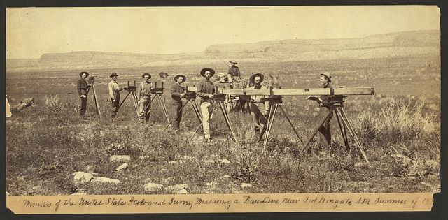 Members of the United States Geological Survey measuring a baseline near Fort Wingate, N.M., 1883