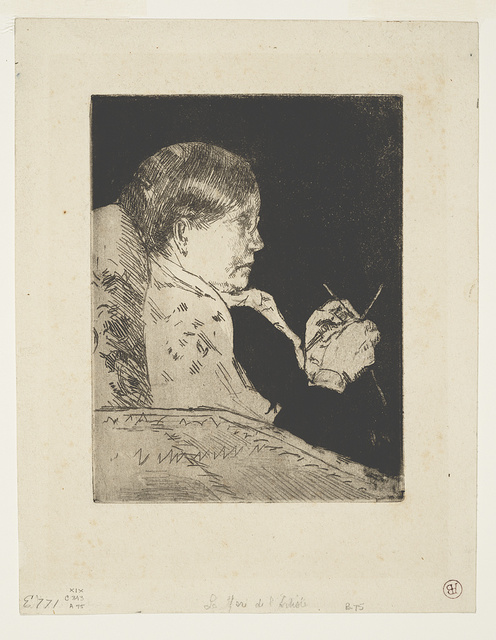 [Mrs. Cassatt knitting, profile view]