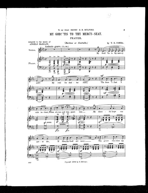 My God! 'Tis to thy mercy-seat; My Prayer [baritone or contralto]