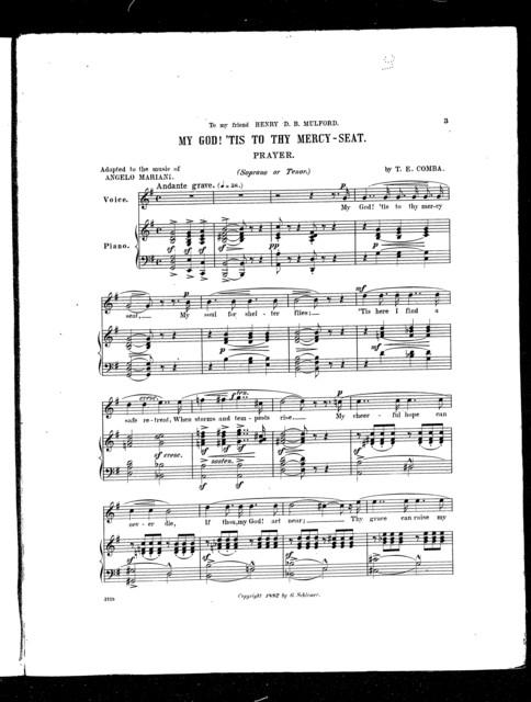 My God! 'Tis to thy mercy-seat; My Prayer [tenor or soprano]