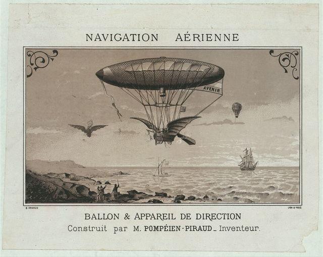 Navigation aérienne. Ballon & appareil de direction construit par M. Pompéien-Piraud, inventeur / / B. Arnaud.