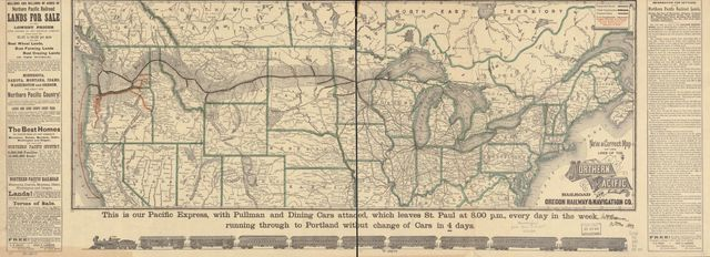 New and correct map of the lines of the Northern Pacific Railroad and Oregon Railway & Navigation Co.
