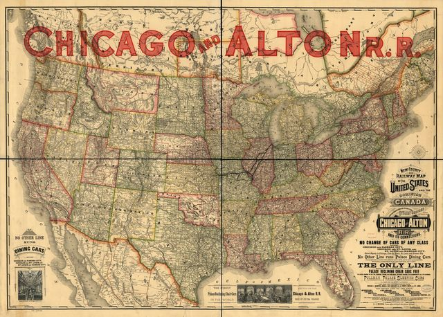 New county and railway map of the United States and the Dominion of Canada compiled from information obtained from official sources showing the lines of the Chicago and Alton R.R. and its connections.