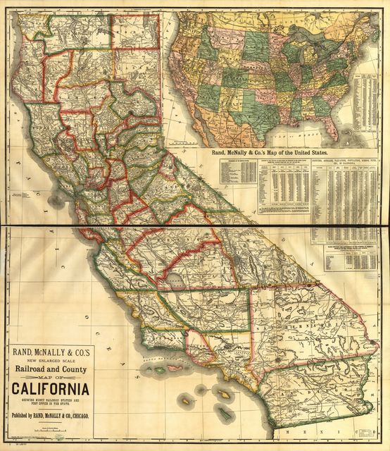 New enlarged scale railroad and county map of California showing every railroad station and post office in the state.