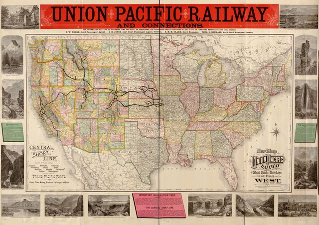New map of the Union Pacific Railway, the short, quick and safe line to all points west.