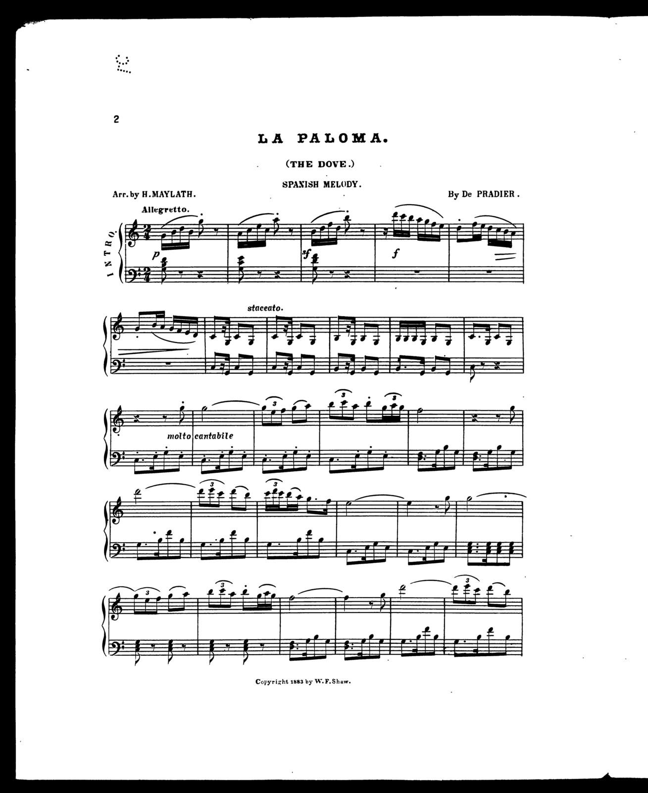 Paloma, La; Spanish melody