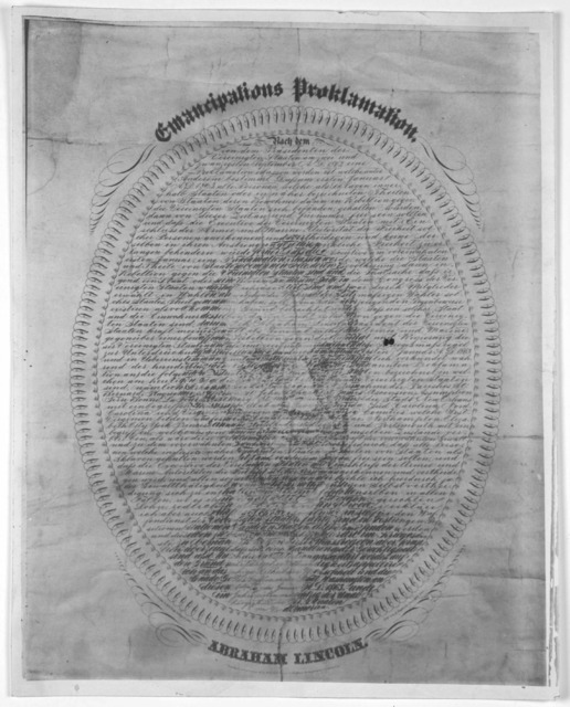 Proclamation of emancipation. Designed, written and engraved by A. Hageboeck, Minneapolis Minn. [c. 1883].