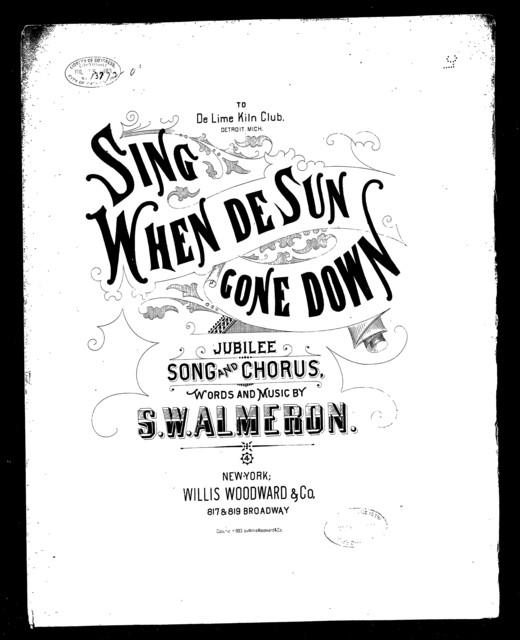 Sing when de sun gone down