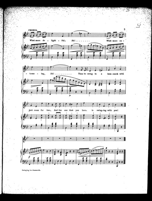 Swinging in a hammock; Waltz song