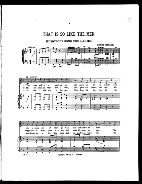 That is so like the men; Humorous song for ladies