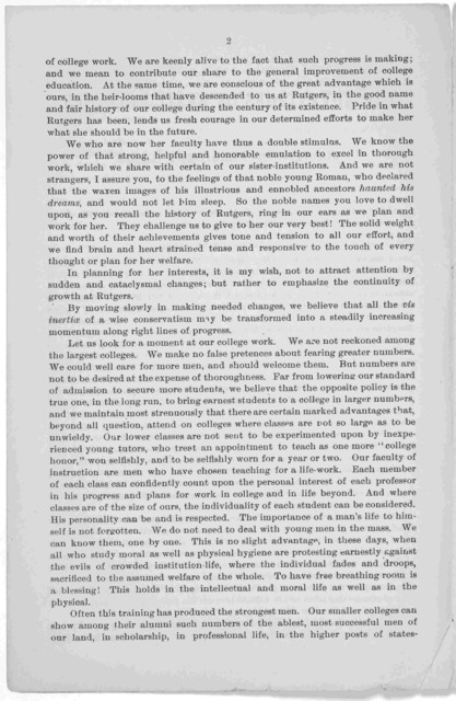 The advantages of small colleges. Address of President Gates at the dinner of the alumni of Rutgers College, given March 30th at the Hotel Brunswick, in this city, President Gates said ... [1883].