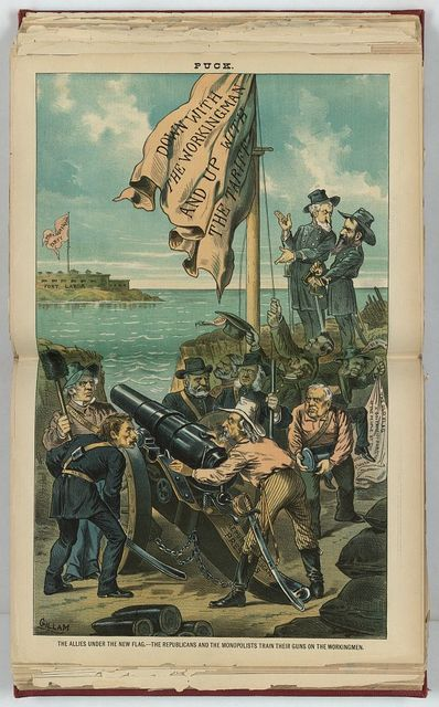 The allies under the new flag - the Republicans and the monopolists train their guns on the workingmen / Gillam.
