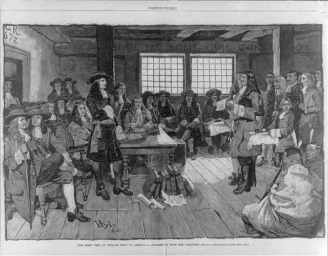 The first visit of William Penn to America - a conference with the colonists