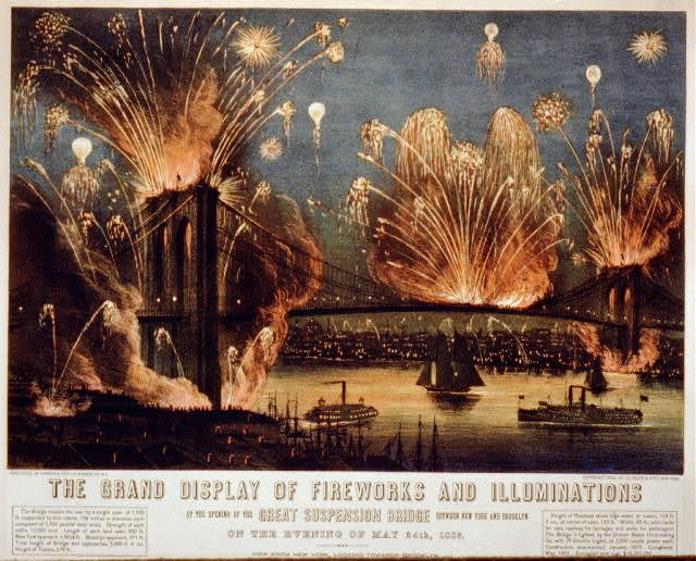 The grand display of fireworks and illuminations: at the opening of the great suspension bridge between New York and Brooklyn on the evening of May 24th, 1883