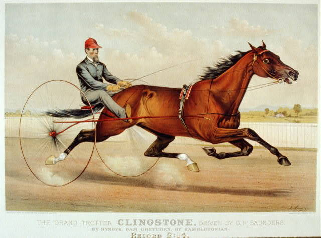 The grand trotter Clingstone, driven by G.H. Saunders: by Rysdyk, dam Gretchen, by Hambletonian