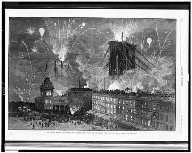 The Great bridge - Fire-works and illumination, from the Brooklyn side / drawn by Charles Graham.