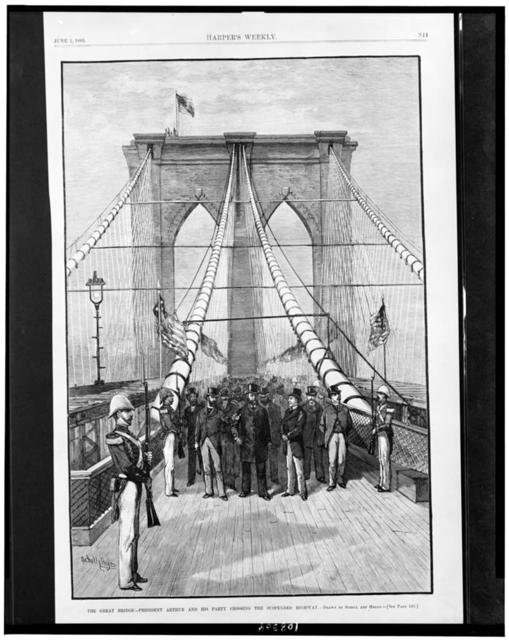 The Great bridge - President Arthur and his party crossing the suspended highway / drawn by Schell and Hogan.
