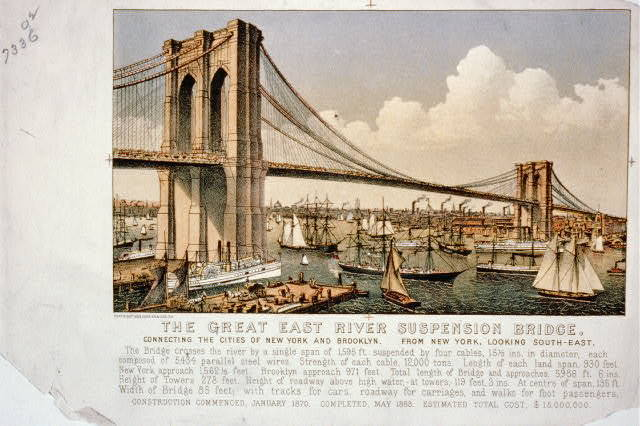 The great East River suspension bridge: connecting the cities of New York and Brooklyn From New York, looking south-east.
