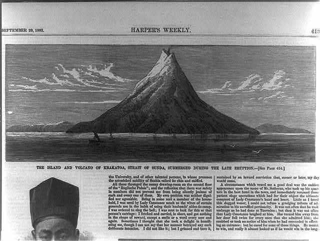 The island and volcano of Krakatoa, Strait of Sunda, submerged during the late eruption