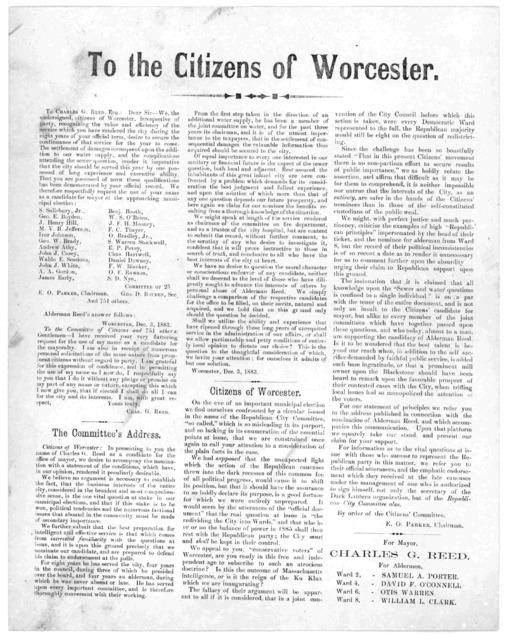 To the citizens of Worcester. [Worcester, 1883].