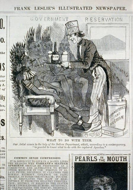 What to do with them [caricature of Uncle Sam serving rum, cigars, and weapons to captured Apache Indians]