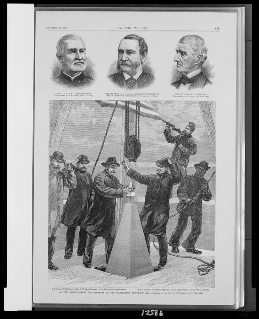 572 feet high--setting the cap-stone on the Washington Monument / from a sketch on the spot by S.H. Nealy.