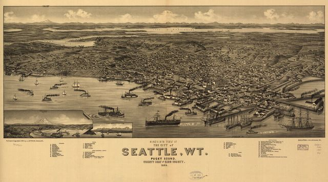 Bird's eye view of the city of Seattle, W.T., Puget Sound, county seat of King County 1884.