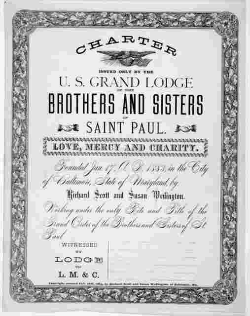 Charter issued only by the U.S. Grand Lodge ... Baltimore, 1884.