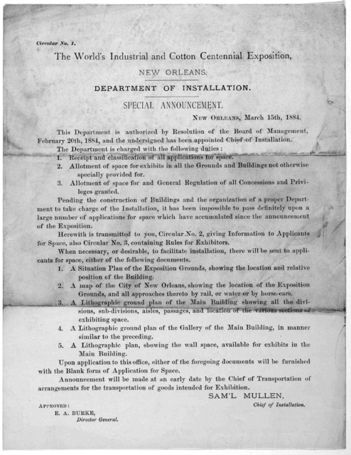 Circular No. 1. The World's industrial and cotton exposition. New Orleans. Department of installation. Special announcement. New Orleans. March 15th, 1884.