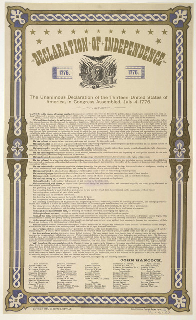 Declaration of independence. The unanimous declaration of the thirteen United States of America, in Congress assembled, July 4, 1776. St. Louis. Great Western printing co. [1884].