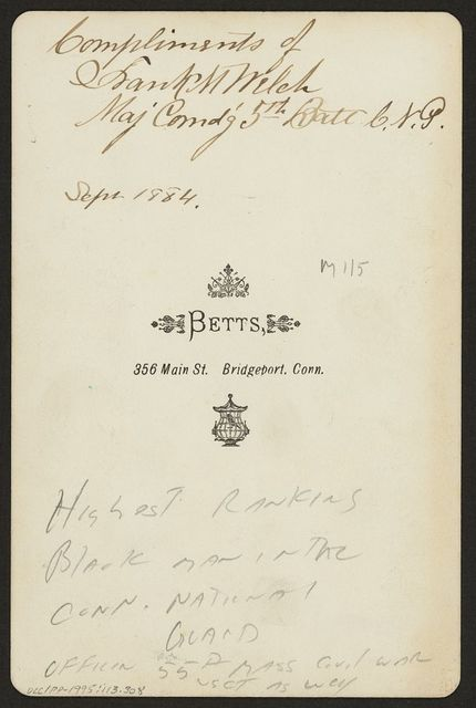 [Frank M. Welch, Maj. Cmdg 5th Battalion, CNG] / Betts, 356 Main St., Bridgeport Conn.