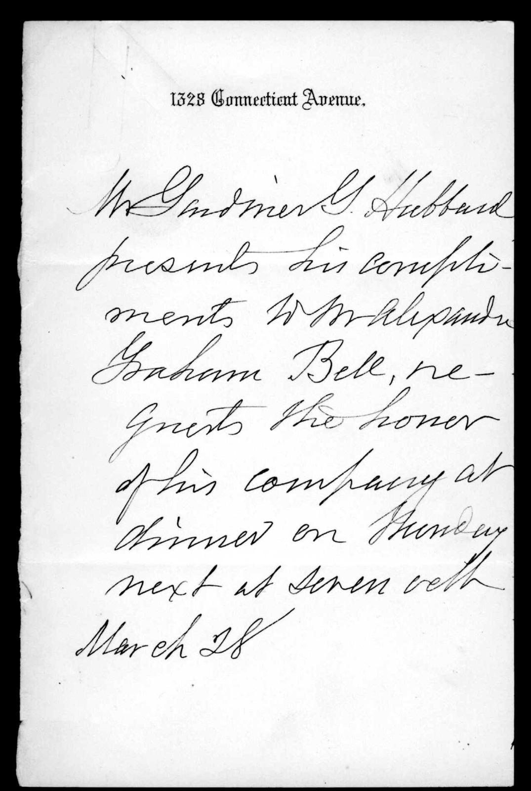 Gardiner Greene Hubbard to Alexander Graham Bell, March 28, [1884]