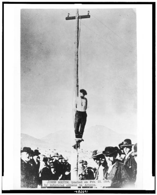 John Heith, lynched on Feb. 22, 1884, by infuriated citizens in Arizona / N.H. Rose, San Antonio, Texas, photographer.