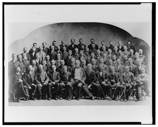 [Large group of Union veterans of the Civil War. including William Tecumseh Sherman (front row, center), posed]