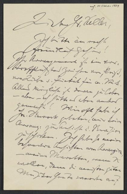 [Letter, 1884 Oct., to] Keller