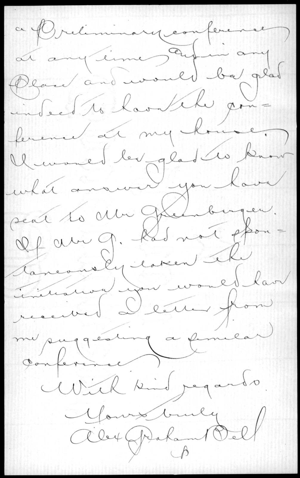 Letter from Alexander Graham Bell to Sarah Fuller, February 12, 1884