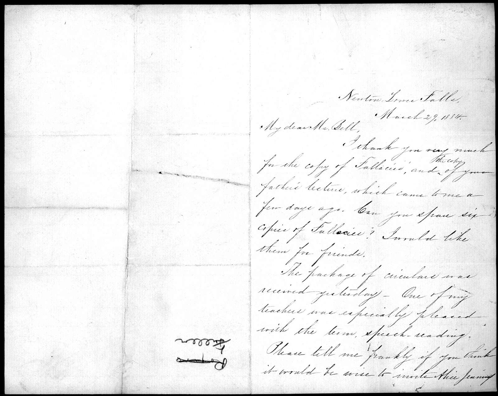 Letter from Sarah Fuller to Alexander Graham Bell, March 29, 1884