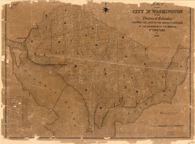 Map of the city of Washington in the District of Columbia showing the lines of the various properties at the division with the original proprietors in 1792.