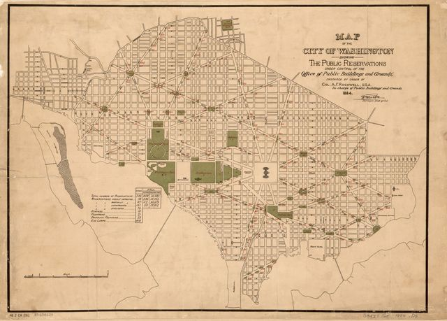 Map of the city of Washington showing the public reservations under control of the Office of Public Buildings and Grounds /