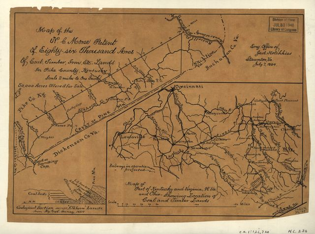 Map of the N.C. Morse patent of eighty-six thousand acres of coal, timber, iron, etc. lands in Pike County, Kentucky ; Map of part of Kentucky and Virginia, W. Va., and Ohio showing location of coal and timber lands /
