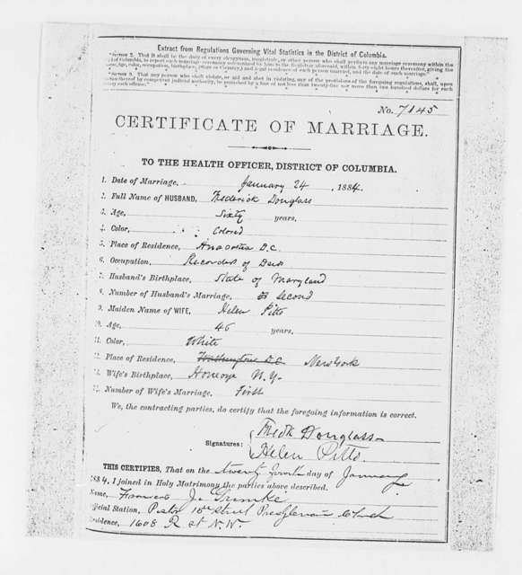 Marriage License, 1884