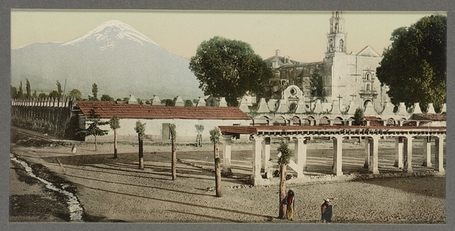 Mexico, Popocatapetl [sic] from plaza, Amecameca