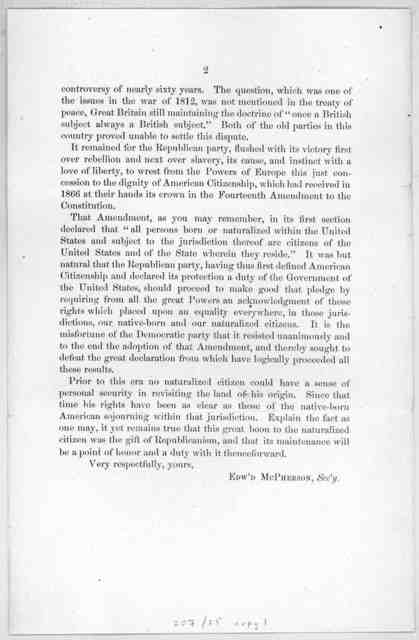 Naturalized citizens. Recognition of their rights. What the Republican party has done in that behalf. The Democratic party in opposition. Washington, D. C., Sept. 19, 1884.